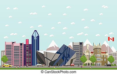 Travel to Canada concept vector illustration. Canadian landmarks and destinations