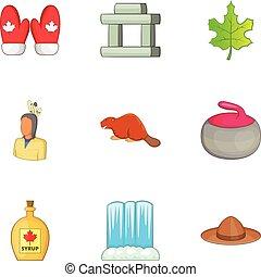 Travel to Canada icons set, cartoon style