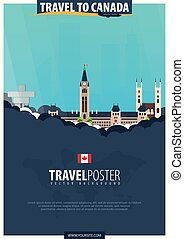 Travel to Canada. Travel and Tourism poster. Vector flat illustration.
