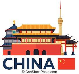 Travel to China, Beijing skyline. Vector illustration.