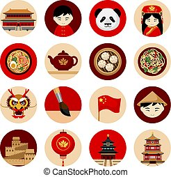 Travel to China. Collection of icons with cultural symbols.
