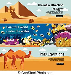 Travel to Egypt banner vector set. Tourist attractions and landmarks. Tourism concept with pyramids, diving in Red sea, camels