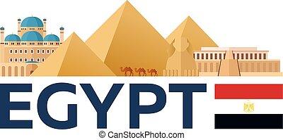 Travel to Egypt skyline. Pyramid. Vector illustration.