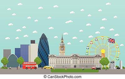 Travel to England concept vector illustration. London city landscape. UK landmarks and destinations