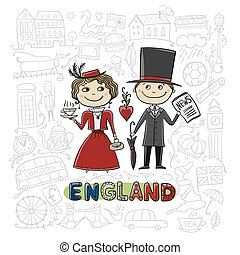 Travel to England. Greeting card for your design. Vector...