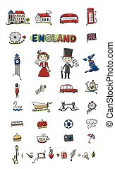 Travel to England. Icons set for your design. Vector...