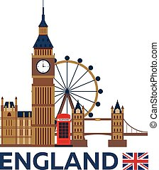 Travel to England, London skyline. Big Ban. Vector illustration.