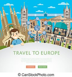 Travel to Europ template with famous attractions - Travel to...