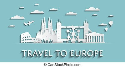 Travel to Europe concept cityscape silhouettes
