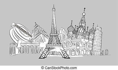 Travel to Europe. Hand-drawn Collection.