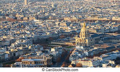 above view les invalides palace and Paris city