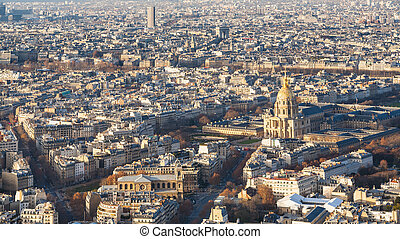 above view of Paris city with palace Les Invalides