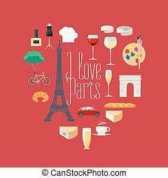 Travel to France, Paris vector icons set in heart shape