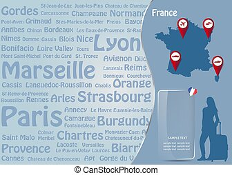 Travel to France template vector with names of famous French landmarks