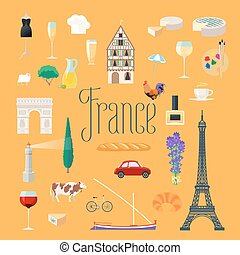 Travel to France vector icons set