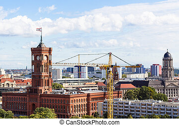 above view of Berlin city with Rotes Rathaus - travel to...