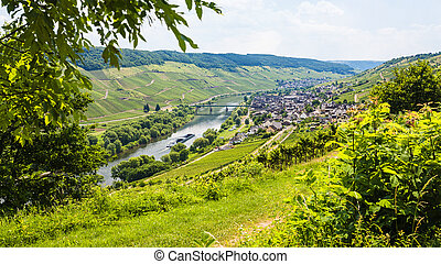 above view of town in valley of Mosel river