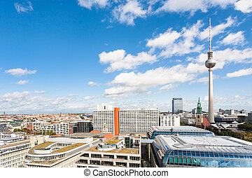 Berlin city skyline with TV tower