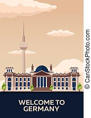 Travel to Germany, Berlin Poster skyline. Reichstag. Vector...
