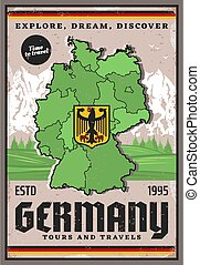Travel to Germany, German map, eagle coat of arms
