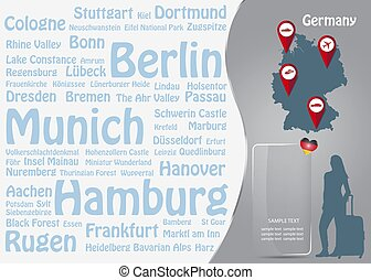 Travel to Germany template vector with names of famous German landmarks