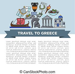 Travel to Greece banner Greek symbols traveling and tourism