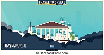Travel to Greece. Travel and Tourism poster. Vector flat illustration.