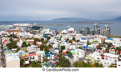 aerial view of Reykjavik city with harbor