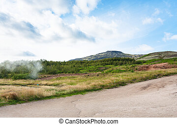 hills near in Haukadalur hot spring area in autumn - travel...