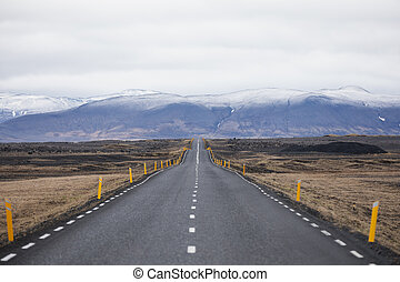 Travel to Iceland. Typical Icelandic landscape with Ring Road.