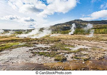 view of Haukadalur geyser valley in autumn