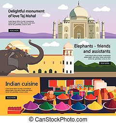 Travel to India banner vector set. Indian culture, tourist attractions, landmarks. Taj Mahal palace and spices market