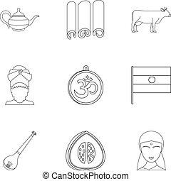 Travel to India icon set, outline style