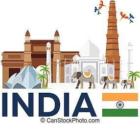 Travel to India, skyline. Taj mahal. Vector illustration.