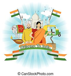 Travel To India - Travel to India symbol with famous...