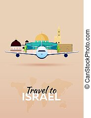 Travel to Israel. Airplane with Attractions. Travel vector...