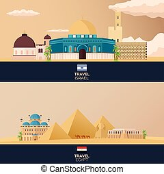 Travel to Israel and Egypt. Vector illustration.