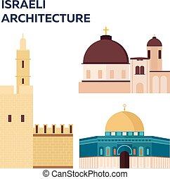 Travel to Israel, Israeli Architecture. Vector illustration.