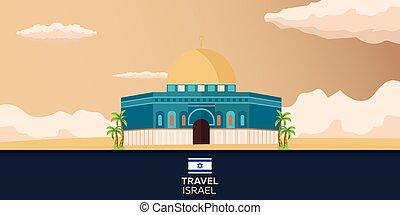 Travel to Israel, Jerusalem Poster skyline. Vector...
