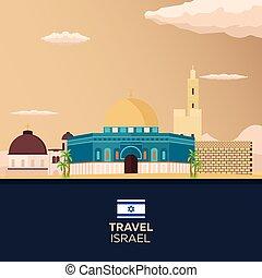 Travel to Israel, Jerusalem Poster skyline. Wailing wall. Vector illustration.