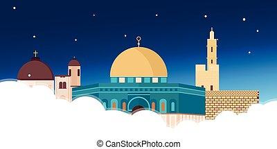 Travel to Israel, Jerusalem Poster skyline. Wailing wall....