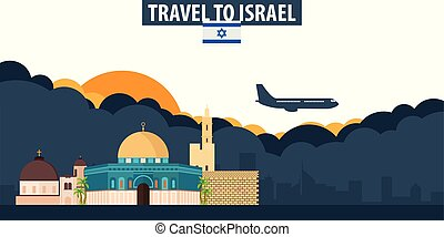 Travel to Israel. Travel and Tourism banner. Clouds and sun...