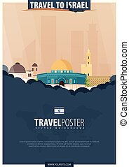 Travel to Israel. Travel and Tourism poster. Vector flat...
