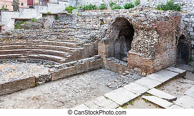 ancient roman Odeon theater in Taormina city