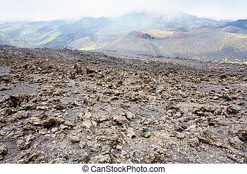 hardened lava field on Mount Etna in Sicily