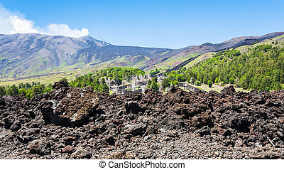 petrified lava on slope of Etna volcano