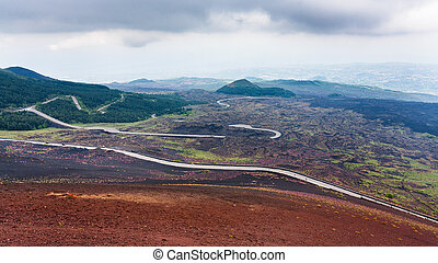 road in hardened lava fields on Mount Etna