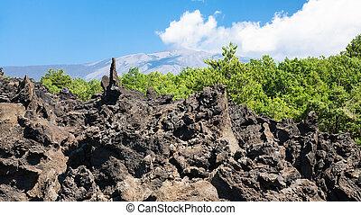 sharp lava stones after volcano Etna eruption