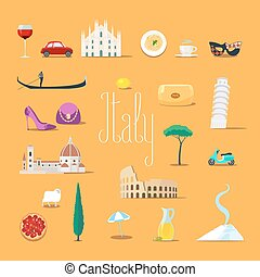 Travel to Italy vector icons set. Italian landmarks, cathedral, gandola