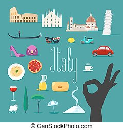 Travel to Italy vector icons set. Italian landmarks, cathedral, gondola